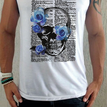 Camiseta Regata Caveira florida