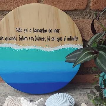 """Placa decorativa de madeira - """"(a)mar infinito"""""""