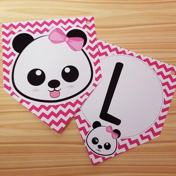 Bandeirola Ursinha Panda Rosa
