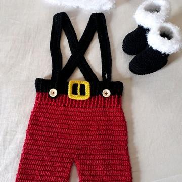 Fantasia bebê Noel de crochê