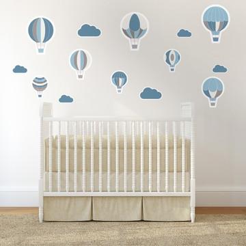 Adesivo de Parede Para Quarto de Bebê Balões Azuis