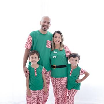 Kit Família com 4 Pijamas de Natal - Manga Curta com Calça