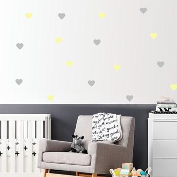 Adesivo Coração amarelo e cinza