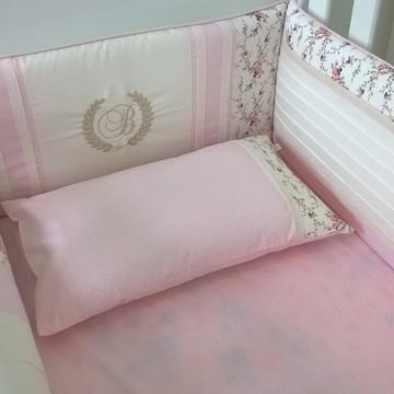 Kit berço rosa e floral