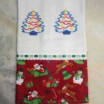Pano de prato Árvores de Natal azul