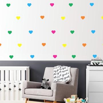 Adesivo Coração colorido cores fortes