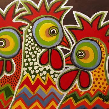 Pintura em Tela - Chickens