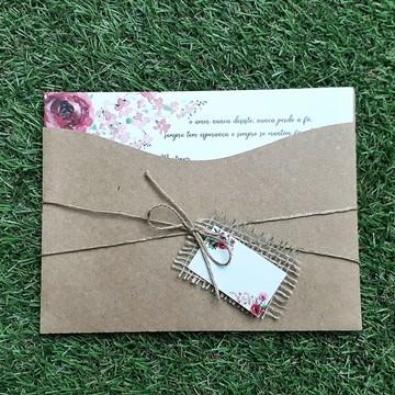 Convite de Casamento, Campo, Rústico Kraft Floral Vermelho