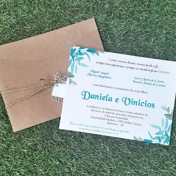 Convite de Casamento, Campo, Rústico Kraft Floral Verde :)