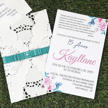 Convite Rendado Debutante 15 Anos Azul Fita Cetim Floral