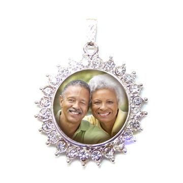 Medalha Buque Noiva prata com strass Relicário com foto