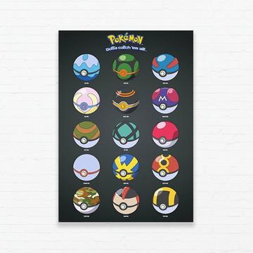 Quadrinho 19x27 Pokemon Pokeballs