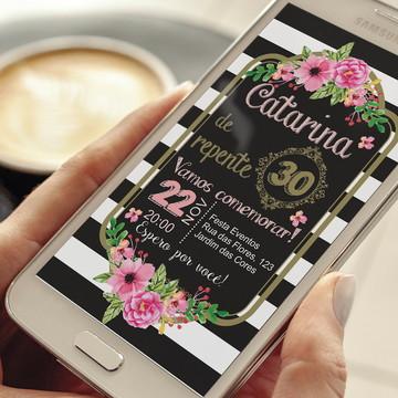 Convite Digital de aniversário floral