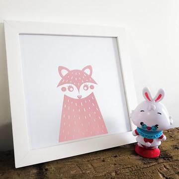 Quadro decorativo infantil Raposa rosa bebê 23,50x23,50