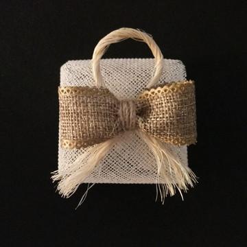 Embalagem de bem-casado - Laço de juta e sisal rústico