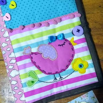 Capa de Caderneta de Vacinação em tecido - passarinho