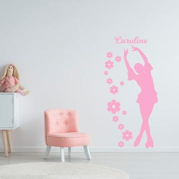 Adesivo De Parede Silhueta Bailarina Nome Quarto Menina