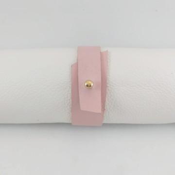Bracelete | Pulseira Feminina em Couro Rosa