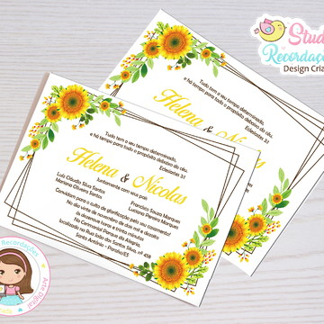 Convite Digital Casamento Girassol