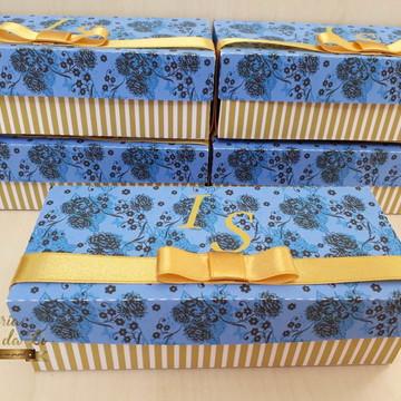 Caixa Convite Padrinhos Dourado com Azul