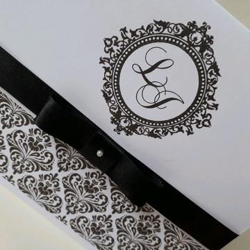 Convite de casamento Preto e Branco barato