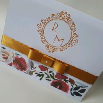 Convite de casamento Marsala dourado barato