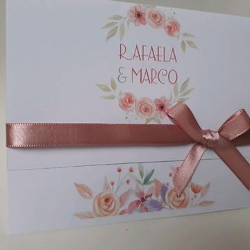 Convite de casamento Rosa Nude barato