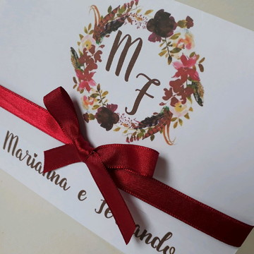 Convite de casamento Marsala barato