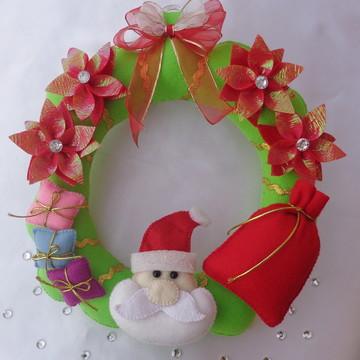 Guirlanda de Natal em feltro Papai Noel com presentes