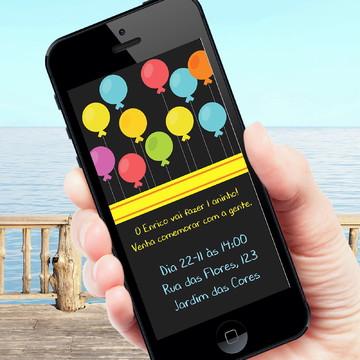 Convite digital tema balões