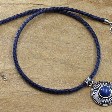 Colar mandala de couro azul bijuterias acessorios femininos