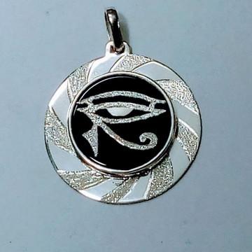 Pingente Olho de Hórus c/ágata em prata pedra ônix