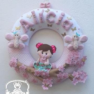 Porta de Maternidade Menina e borboletas