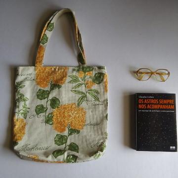 Bolsa de Tecido - Flores Laranjas
