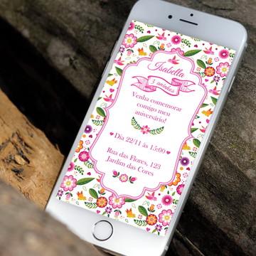 Convite digital tema floral