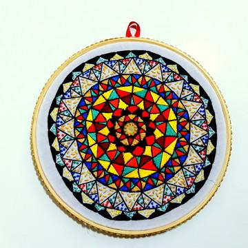 Bastidor Mandala bordada a mão Pronta Entrega