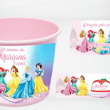 Kit Cinema Personalizado Princesas Disney