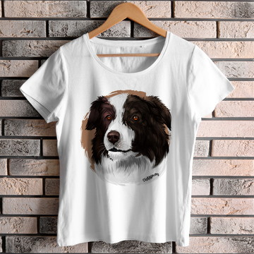 Camiseta Baby Look Border Collie