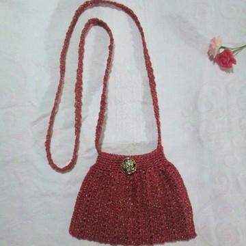 429b5d6b3 Bolsa vintage para festa em crochê com brilho alça longa