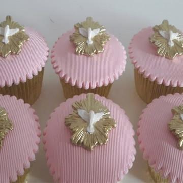 Aplique de pasta americana Batizado para cupcake