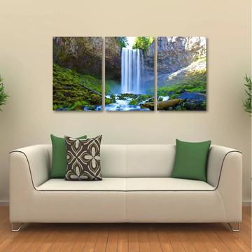 Quadro Decorativo Natureza Cachoeira Em Tecido 3 Peças