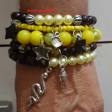 Mix de 5 pulseiras - amarela/preta/prata