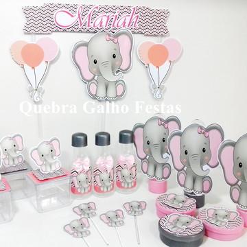 Lembrancinhas Elefantinho Rosa kit 105 Itens Festa