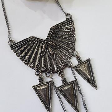 colar bijuteria prata velha
