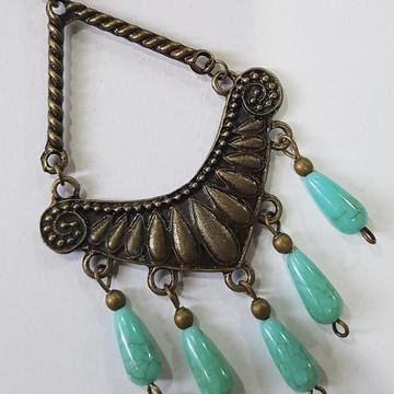 colar bijuteria com gotas cor turquesa