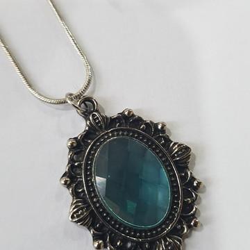 colar bijuteria tipo camafeu com cristal