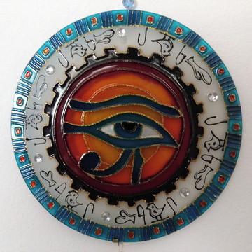 Mandala Em Vidro Olho De Hórus 20 Cm