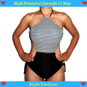 6006e97a68 Maiô Feminino Listrado C  Bojo Moda Praia - Confira!