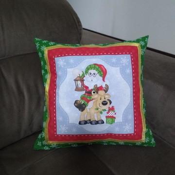 Almofada Papai Noel com Rena e Presentes