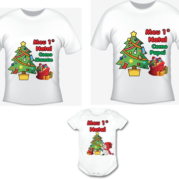 Primeiro Natal Kit /02 camisetas e body